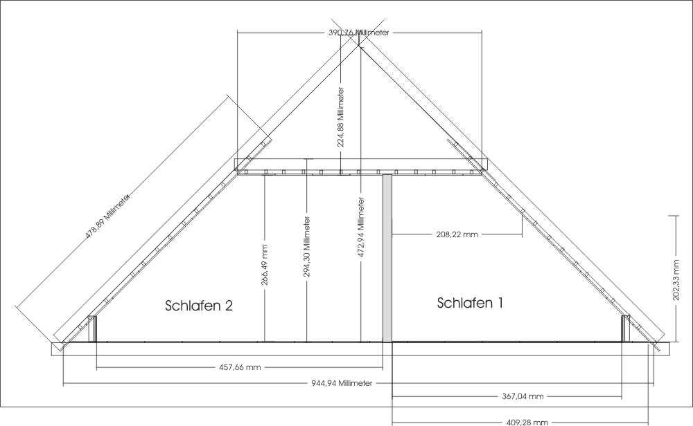 Dachgeschoss ausbauen Schnitt zeichnen fuer Baunatrag Beispiel